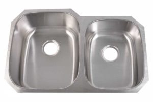 Stainless Steel Kitchen Sink 917 - Left basin dimensions: L 32 in. x W 20-3/4 in. x D 9 / 7 in. and Right basin dimensions: L 32 in. x W 20-3/4 in. x D 7 / 9 in.
