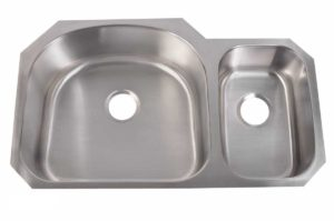 Stainless Steel Kitchen Sink 945 - Left basin dimensions: L 35 in. x W 20-7/8 in. x D 9 / 7 in. and Right basin dimensions: L 35 in. x W 20-7/8 in. x D 7 / 9 in.